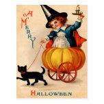Girl & Black Cat Postcard