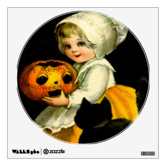 Girl & Black Cat Wall Sticker