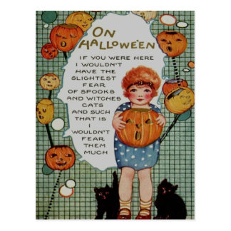 Girl & Black Cats Postcard