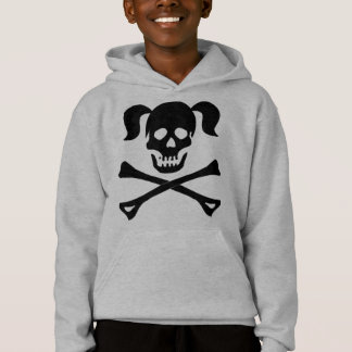 Girl Black Skull and Crossbones With Pigtails Hoodie