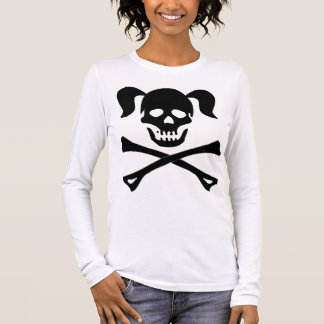 Girl Black Skull and Crossbones With Pigtails Long Sleeve T-Shirt