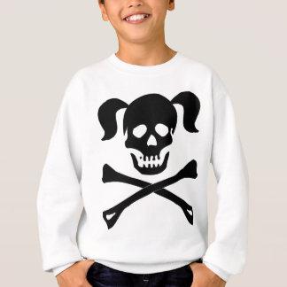 Girl Black Skull and Crossbones With Pigtails Sweatshirt