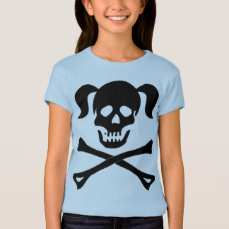 Girl Black Skull and Crossbones With Pigtails T-Shirt