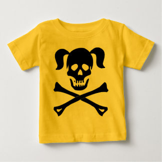 Girl Black Skull and Crossbones With Pigtails Tee Shirts
