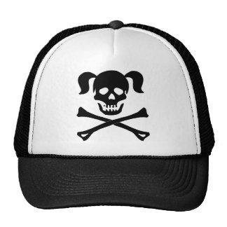 Girl Black Skull With Pig Tails Trucker Hat
