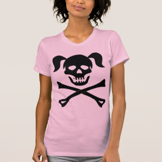 Girl Black Skull With Pigtails Light Color Woman T Shirt