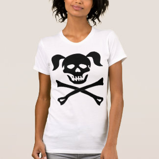 Girl Black Skull With Pigtails Light Color Woman Shirts