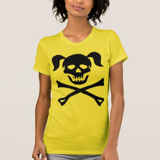Girl Black Skull With Pigtails Light Color Woman Tee Shirt