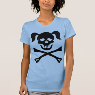 Girl Black Skull With Pigtails Light Color Woman T-shirts