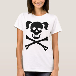 Girl Black Skull With Pigtails Woman Tee