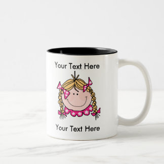 Girl Blonde Braids Mug - Customizable