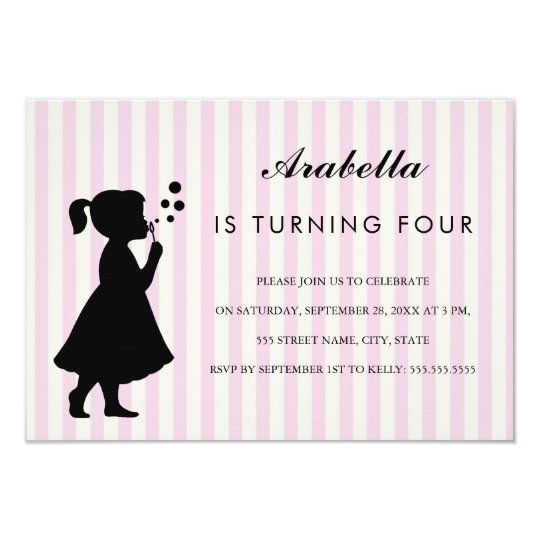 Girl blowing bubbles birthday party invitation zazzle girl blowing bubbles birthday party invitation filmwisefo