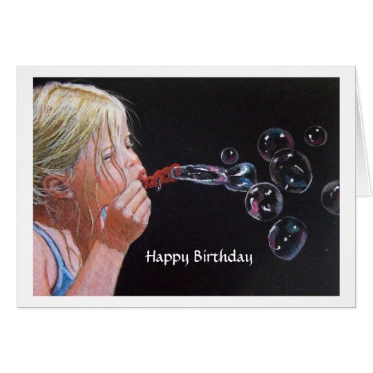 Girl Blowing Bubbles: Original Color Pencil Art Card