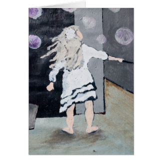 Girl Blowing Bubbles Painting and Poem Card