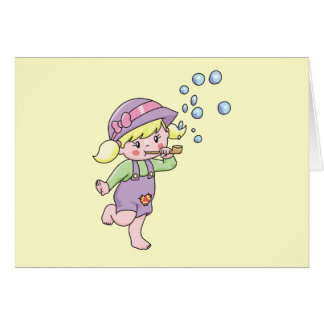 Girl Blowing Bubbles Tshirts and Gifts Greeting Card