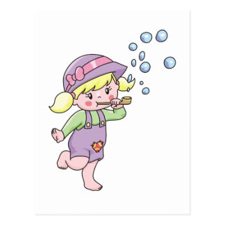 Girl Blowing Bubbles Tshirts and Gifts Postcard