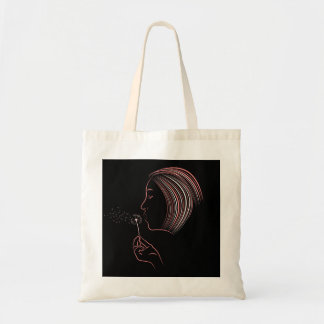 Girl Blowing Dandelion Tote Bag
