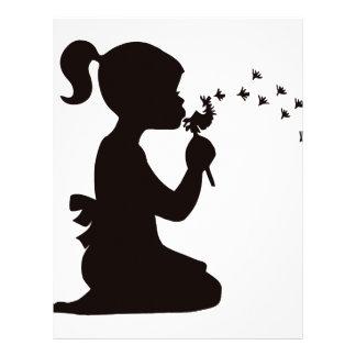 Girl Blowing on Dandelion silhouette Letterhead
