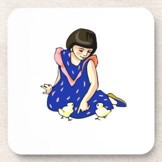girl blue dress two baby chicks coaster