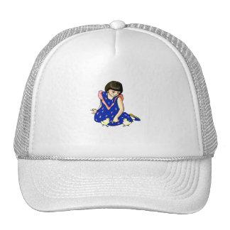 girl blue dress two baby chicks trucker hat