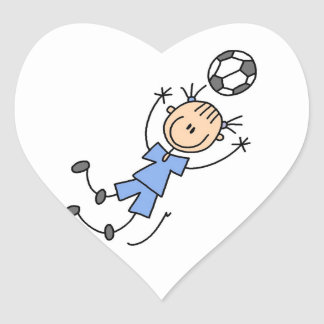 Girl Blue Uniform Soccer Player T-shirts and Gifts Heart Sticker