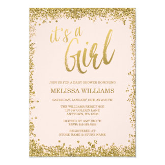 Girl Blush Pink Faux Gold Glitter Baby Shower Card