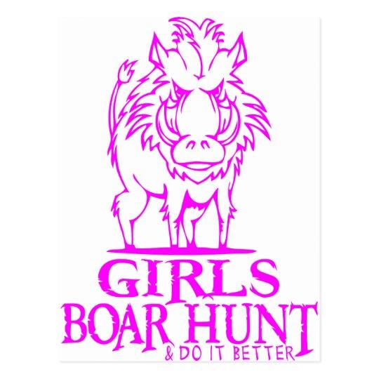 GIRL BOAR HUNTING POSTCARD