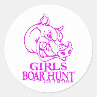 GIRL BOAR HUNTING ROUND STICKER