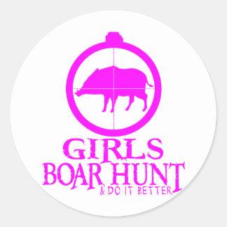 GIRL BOAR HUNTING STICKERS