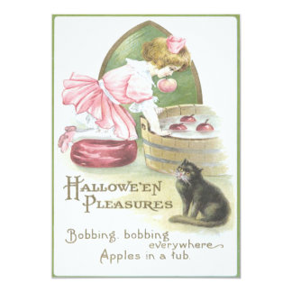 Girl Bobbing For Apples Black Cat Card