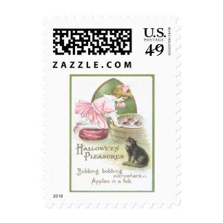 Girl Bobbing For Apples Black Cat Halloween Party Stamp