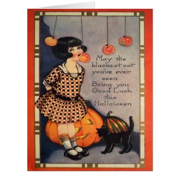 Halloween Themed Girl Bobbing For Apples Black Cat Pumpkin Card