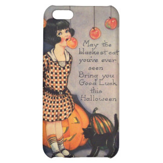 Girl Bobbing For Apples Black Cat Pumpkin iPhone 5C Case