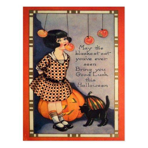 Girl Bobbing For Apples Black Cat Pumpkin Post Cards