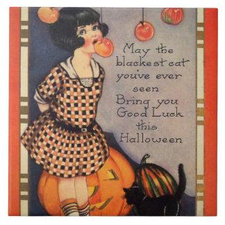 Girl Bobbing For Apples Black Cat Pumpkin Tile