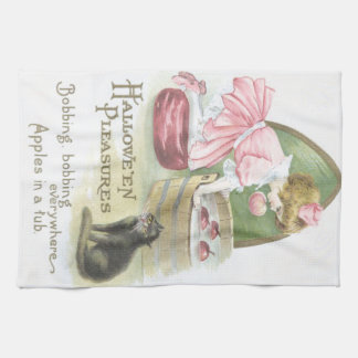 Girl Bobbing For Apples Black Cat Towel