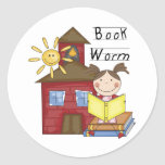 Girl Book Worm T-shirts and Gifts Sticker