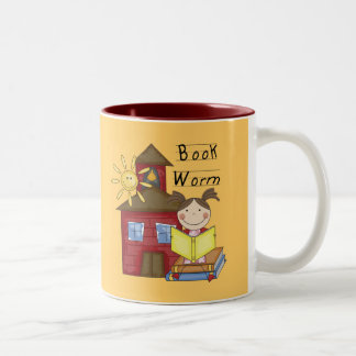 Girl Book Worm T-shirts and Gifts Two-Tone Coffee Mug