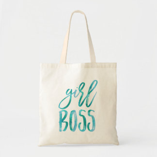 Girl Boss   Aqua Watercolor Tote Bag