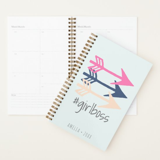 Girl Boss Boho Arrows Modern Pink Blush Navy Cute Planner