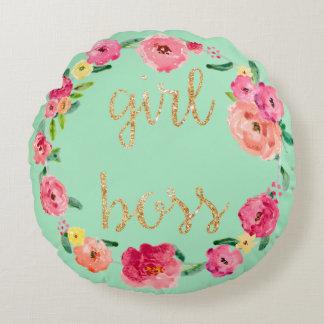 Girl Boss Floral Glitter Circle Pillow