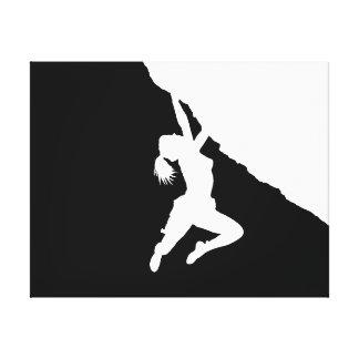 girl bouldering canvas print