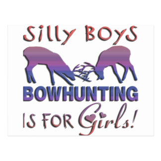 GIRL BOWHUNTER DEER POSTCARD