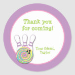 Girl Bowling Birthday Party Favor Stickers