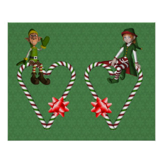 Girl Boy Elf Candy Cane Hearts Christmas Holiday P Poster