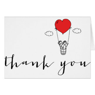 Girl & Boy Hot Air Balloon Doodles Thank You Card