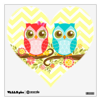 Girl & Boy Owls - Heart Wall Cling Room Decal