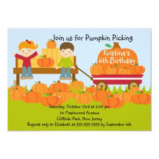 "Girl Boy Pumpkin Picking Birthday Party Invitation 5"" X 7"" Invitation Card"