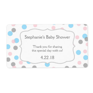 Girl boy twins / gender reveal water bottle favor personalized shipping label