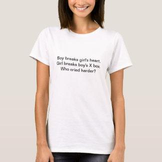 girl breaks boys x box tshirt